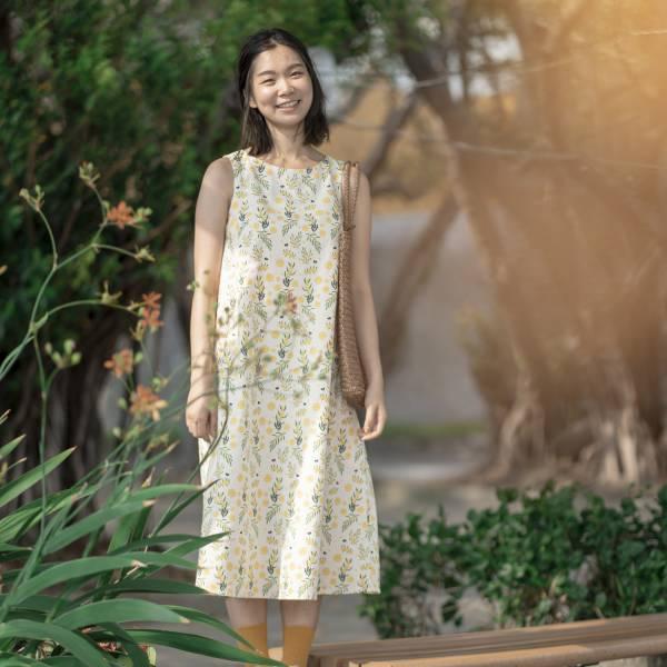 A字連身八分洋裝/米力系列/黃相思 2019,連身裙,洋裝,台灣八哥