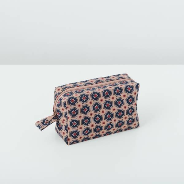 拉鏈長方收納包/老磁磚2號/古董藍褐 收納包, 化妝包, 盥洗包