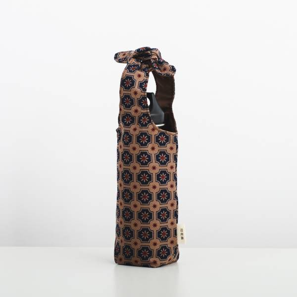 兔耳水壺袋/老磁磚2號/古董藍褐 飲料提袋, 環保飲料提袋, 隨行杯提袋, 兔耳袋