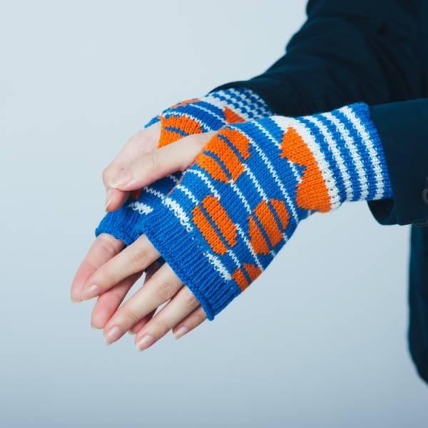 緹花無指手套/印花樂 x Yu Square/圓點紅藍 針織手套, 半指手套, 露指手套, 保暖手套