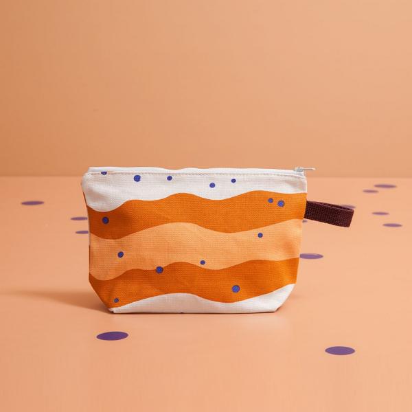 拉鏈梯形收納包/珍珠奶茶/焦糖茶色 化妝包, 盥洗包, 收納包