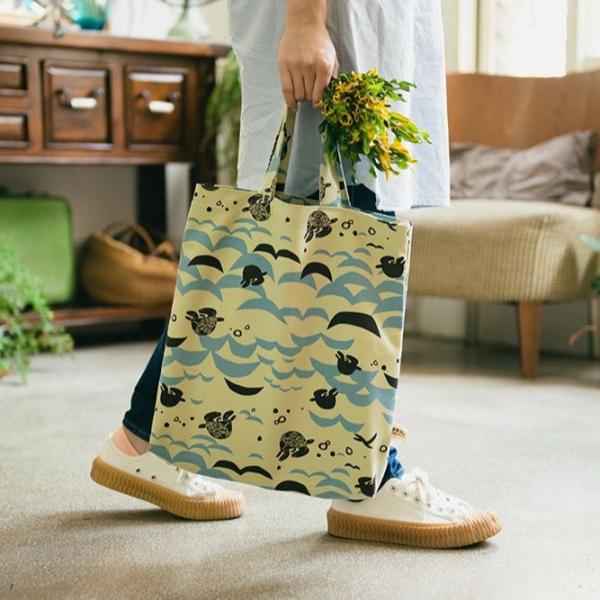 直式簡約手提袋/限定花色/2017淨灘藝術節-淺綠藍 手提袋, 手提包
