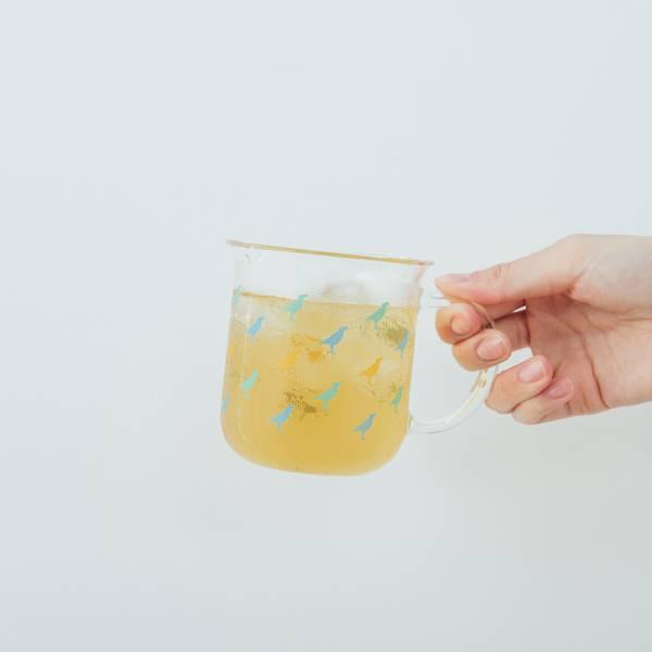 印花樂X好玻-把手水杯/台灣八哥/甜筒藍黃 玻璃杯,玻璃馬克杯,把手水杯