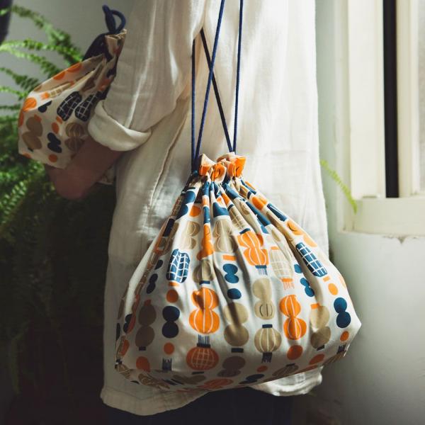 束口旅行衣物袋-L/米力系列/燈籠/橘藍 旅行衣物袋