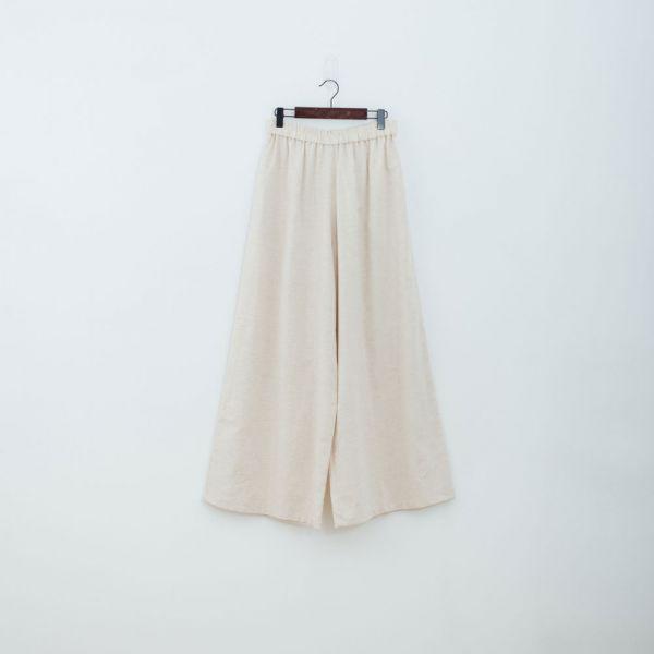 休閒寬版長褲/棉麻胚色 褲子,寬褲,印花布料,長褲