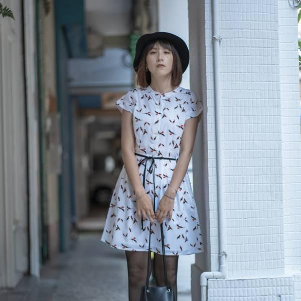 圓領小包袖襯衫式洋裝/朱鸝/經典紅黑 2019,連身裙,洋裝,台灣八哥