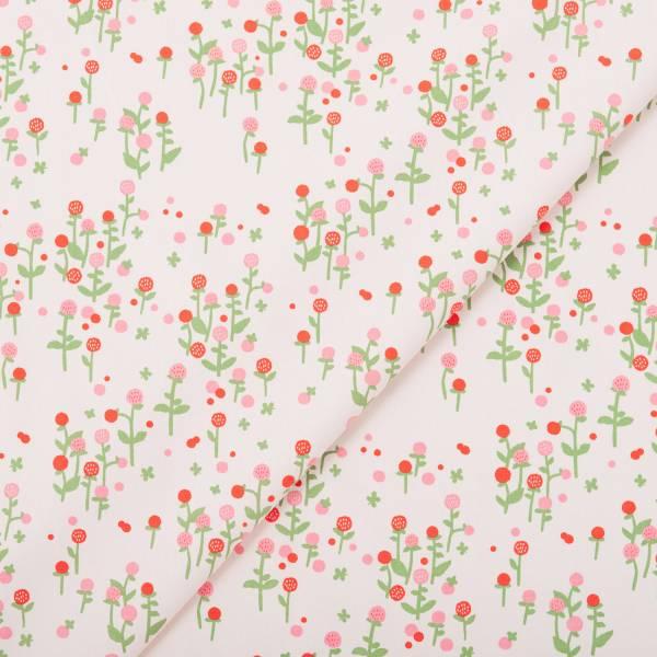 手印棉帆布(滿花)-250g/y/雜花/圓仔花粉紅 布料, 棉帆布, 手作材料