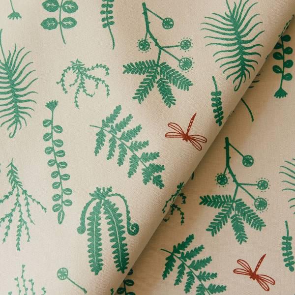 手印棉帆布_滿花-250g/y/野花草與蜻蜓/尤加利綠色 布料, 棉帆布, 手作材料