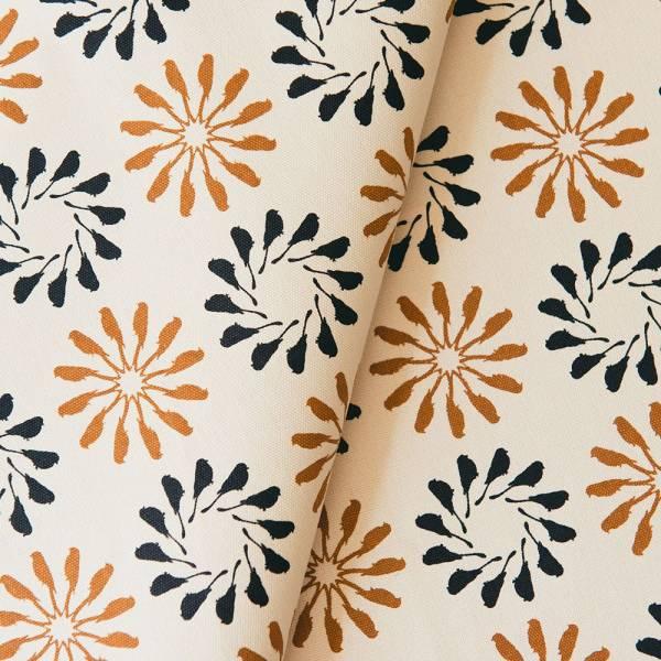 手印棉帆布_滿花-250g/y/烏秋圈圈/學園藍棕 布料, 棉帆布, 手作材料