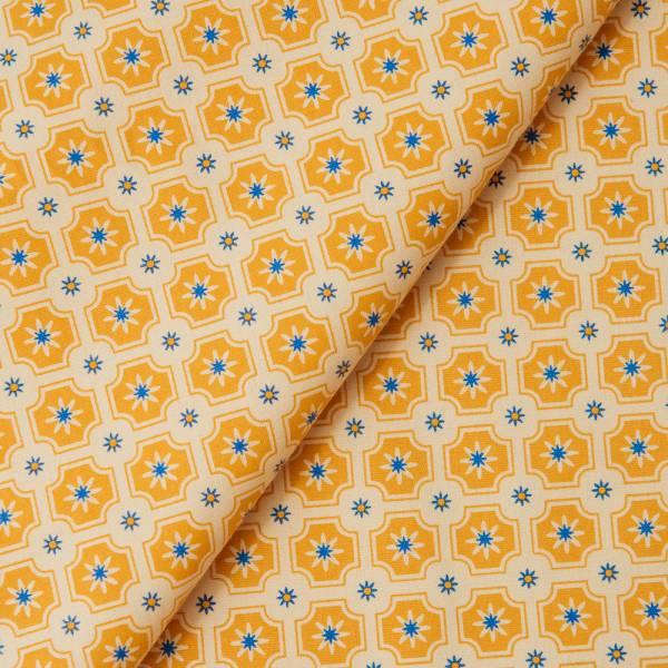 手印棉帆布_滿花-250g/y/老磁磚2號/雛菊黃 布料, 棉帆布, 手作材料