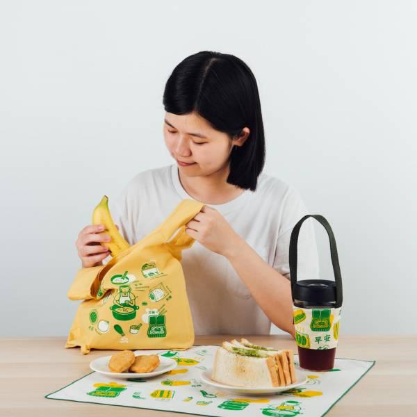 【早餐豪華組】台灣早餐系列-綠(含包布巾、飲料提袋、背心袋) 台灣早餐, 伴手禮, 飲料提帶, 環保袋, 包布巾