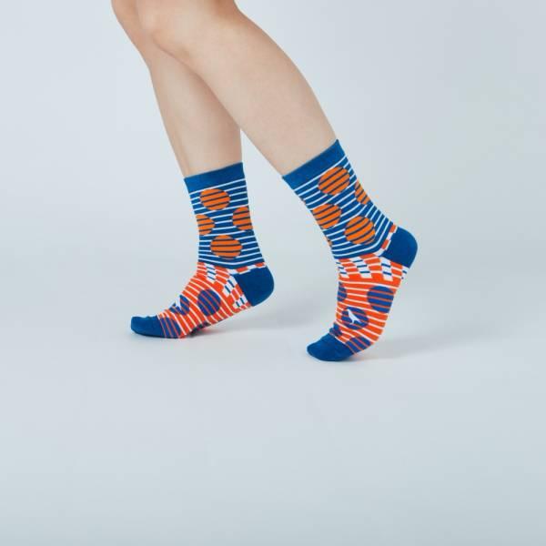 緹花中筒襪/印花樂 x Yu Square/圓點紅藍 襪子, 中筒襪