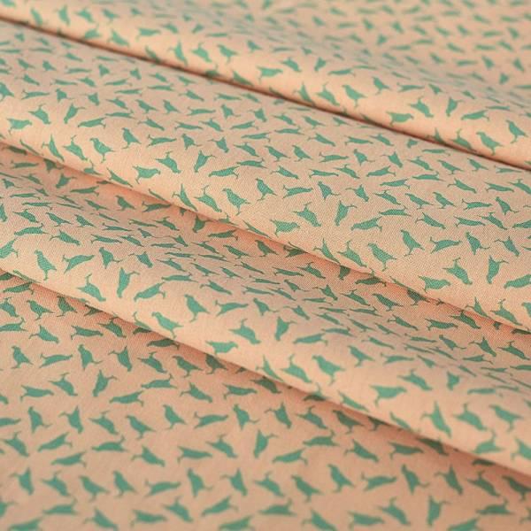 寬幅平織印花棉布/台灣八哥4號/膚粉淡綠 布料, 棉布, 手作材料