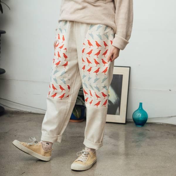 拼接寬版長褲/台灣八哥5號/麻紅綠 褲子,拼接,印花布料,長褲