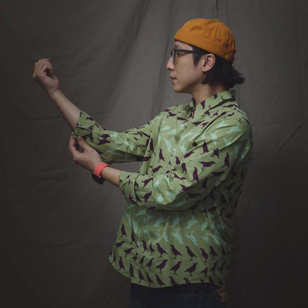 長袖襯衫-男款F/台灣八哥5號/油畫紫綠 襯衫, 長袖襯衫