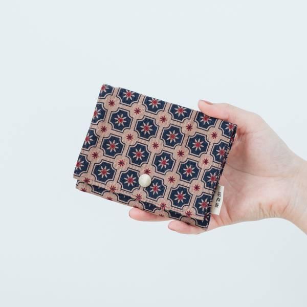 單釦面紙小物袋/老磁磚2號/古董藍褐 面紙袋, 小物袋
