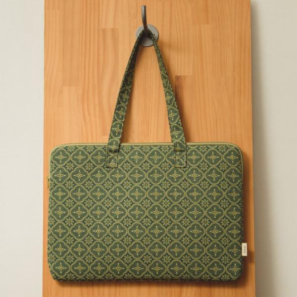 15.5吋筆電收納包/玻璃海棠/古董草綠 筆電包, 筆電袋