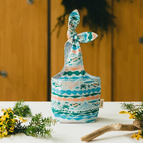 小胖兔耳袋/海的寶物_魚群/淺水藍 環保飲料提袋, 隨行杯提袋, 兔耳袋