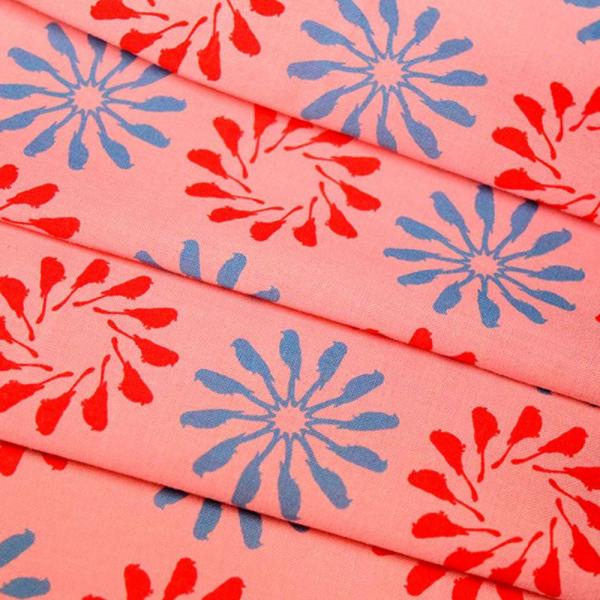 寬幅平織印花棉布/烏秋圈圈/桃粉天藍橘 布料, 棉布, 手作材料