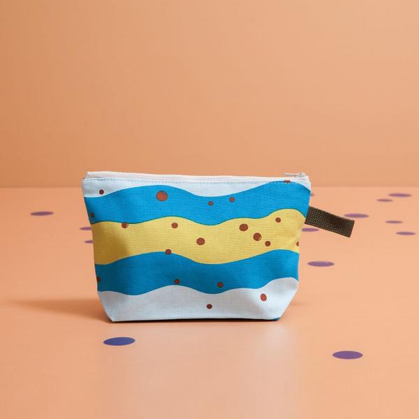 拉鏈梯形收納包/珍珠奶茶/清新藍綠 化妝包, 盥洗包, 收納包