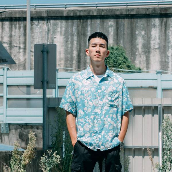 短袖襯衫-男裝/雜花/海芋淺藍 中性襯衫,襯衫,花襯衫,印花布料