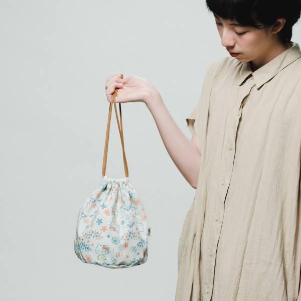 球型束口袋/限定花色/印花樂x凱蒂貓-自然橘綠 束口袋, 收納袋