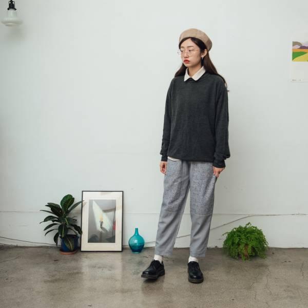 拼接寬版長褲/台灣八哥/灰藍黑 褲子,拼接,印花布料,長褲