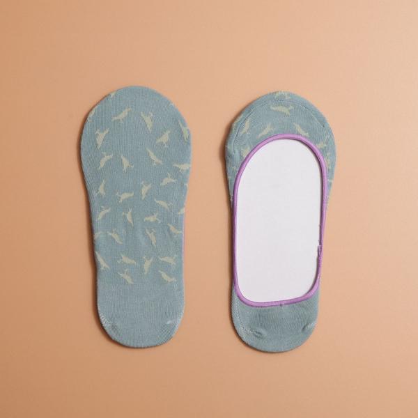 緹花淺口隱形襪/台灣八哥4號/石牆灰綠 襪子, 隱形襪, 緹花襪