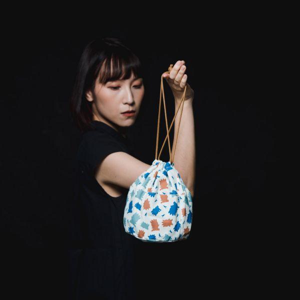 球型束口袋/限定花色/印花樂x酷企鵝-個性橘藍 束口袋, 收納袋