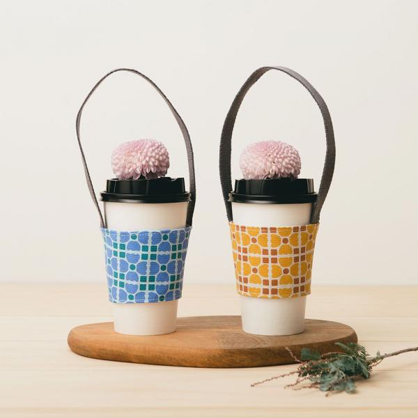 飲料杯提帶兩件組/老磁磚4號/古著藍紫+復古黃褐 飲料杯提袋, 環保提袋, 環保飲料袋