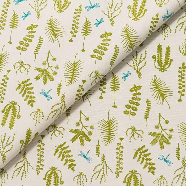 手印棉帆布-寬幅500g/y/野花草與蜻蜓/蕨綠色 布料, 棉帆布