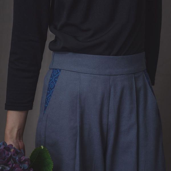 寬版打褶長褲/雜花/素色棉麻灰藍 長褲