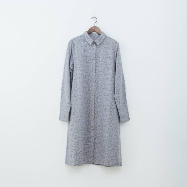 長袖長版襯衫/台灣八哥/灰藍黑 洋裝,罩衫,寬版,花襯衫,印花布料