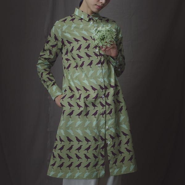 長袖長版襯衫/台灣八哥5號/油畫紫綠 長版襯衫