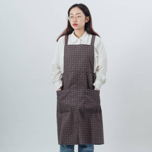 交叉圍裙/玻璃海棠/午夜藍褐 2019,圍裙,工作裙,餐廚,台灣八哥