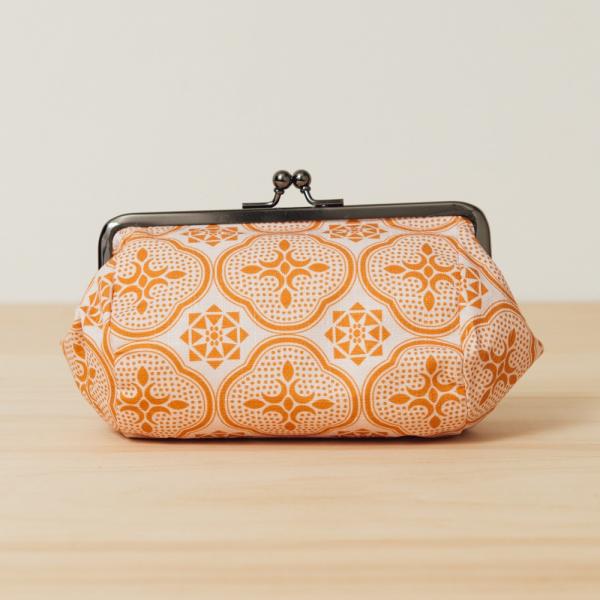 和風圓筒口金手拿包/玻璃海棠/果實粉紅 口金包, 零錢包, 化妝包, 手拿包