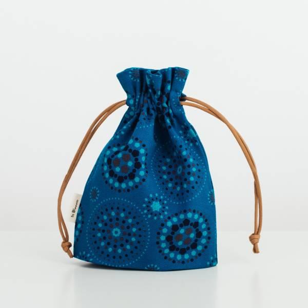 束口小物袋/煙火/星夜藍色 束口袋, 收納袋