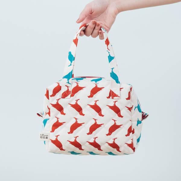 鋪棉便當袋/台灣八哥5號/古宅紅粉 便當袋,手提帶