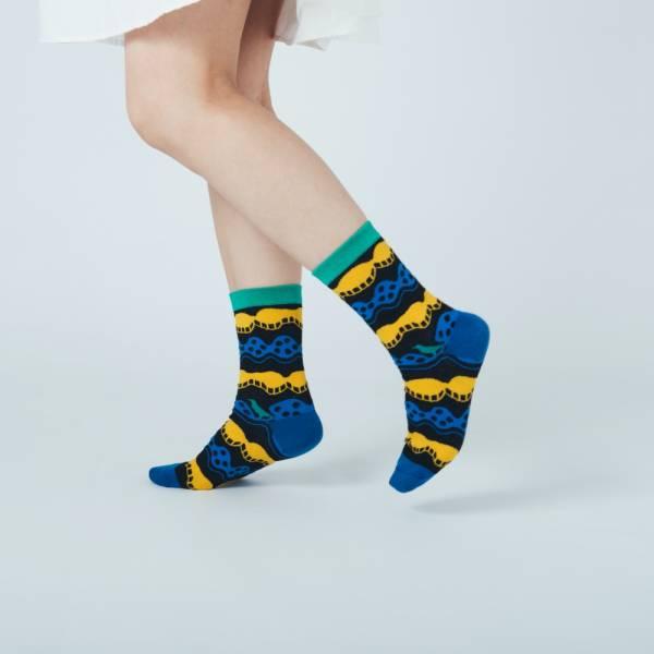 緹花中筒襪/印花樂 x Yu Square/浪花黑藍黃 襪子, 中筒襪