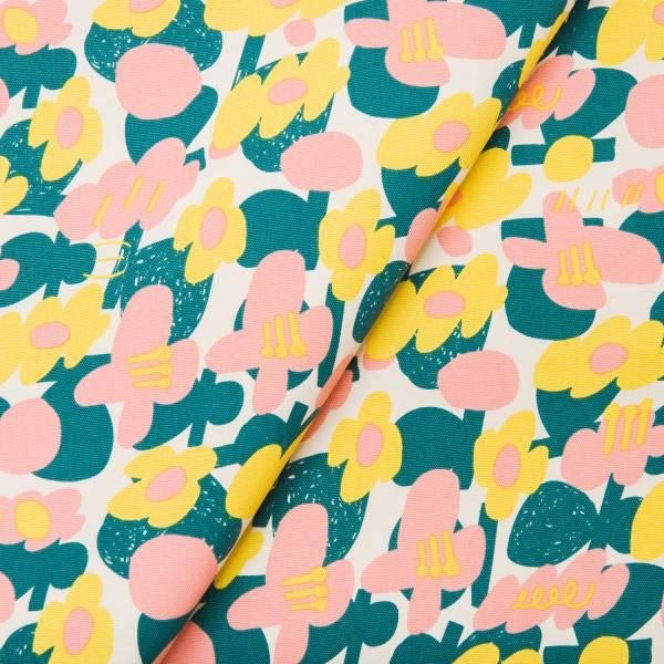 寬幅印花布8N/藝術家聯名/印花樂 x UULIN/荷包蛋花朵/粉色 布料, 棉帆布, 手作材料