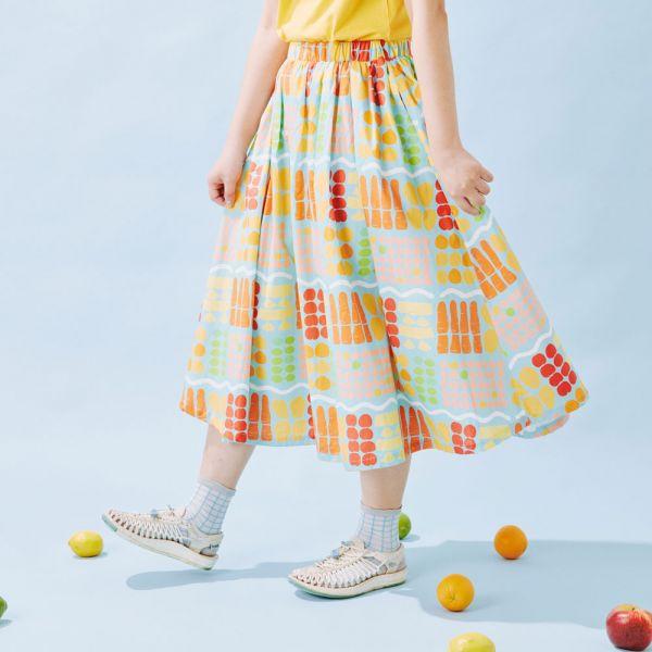 細褶寬擺傘裙/老派冰果室/冰藍色 戀夏冰果室 ,冰果室,復古印花,文青穿搭,裙子