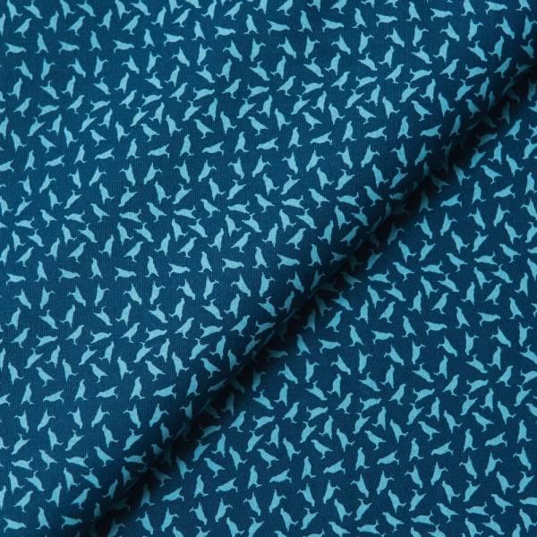 手印棉帆布_滿花-250g/y/台灣八哥4號/典雅藍色 布料, 棉帆布, 手作材料