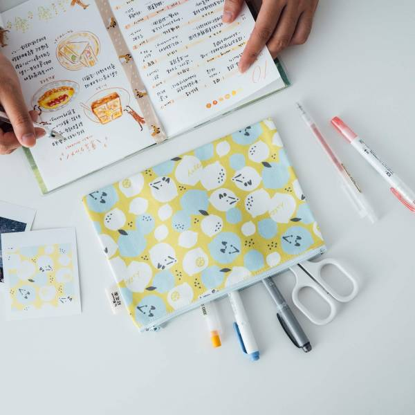 拉鏈文具袋-L14/限定花色/印花樂x你好工作室 - 黃檸檬與狐狸