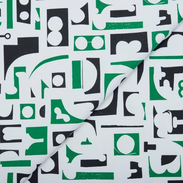 寬幅平織印花棉布(數位)/藝術家聯名/印花樂 x 陳姝里/黑綠 布料, 薄棉布