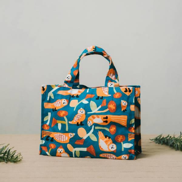 單釦長方便當袋/藝術家聯名/印花樂 x UULIN/貓頭鷹與花/橘藍 飲料提袋, 便當袋, 方形袋,袋子,小袋子