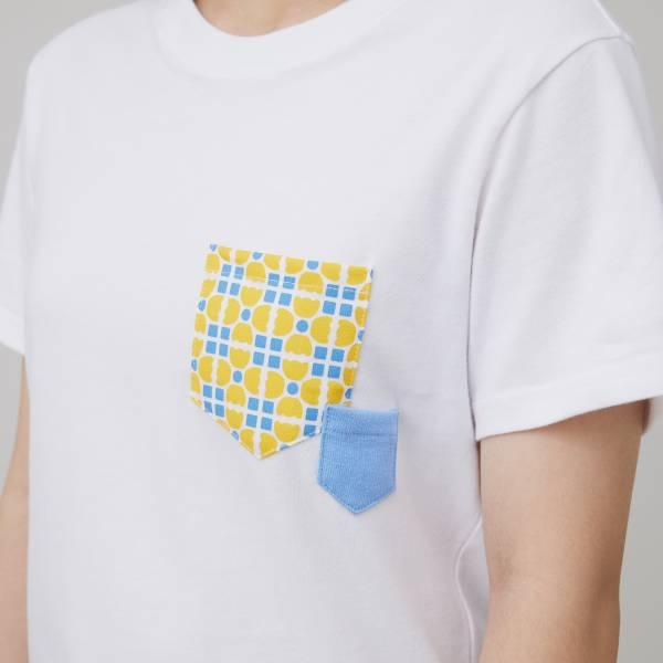 印花口袋棉T/老磁磚4號/白/黃藍