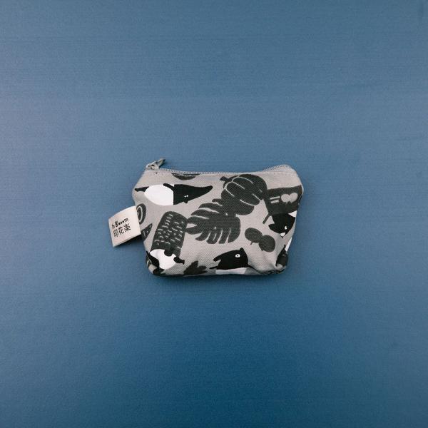 小東西拉鏈包/限定花色/印花樂x馬來貘-黑白菜市場 零錢包