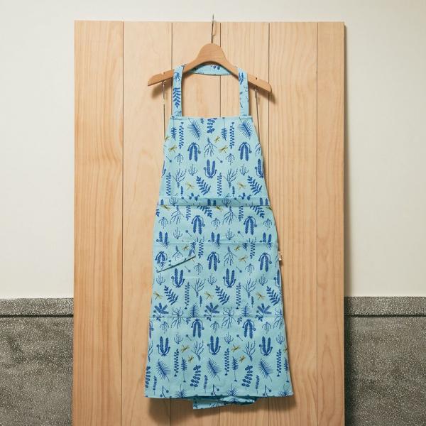全身/半身兩用圍裙/野花草與蜻蜓/花瓣藍紫 圍裙