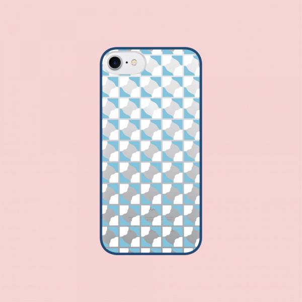 印花樂X犀牛盾NX邊框背蓋兩用殼-iPhone XS/老磁磚3號/背蓋透明藍白 手機殼, 手機套, 犀牛盾, iPhone 手機殼