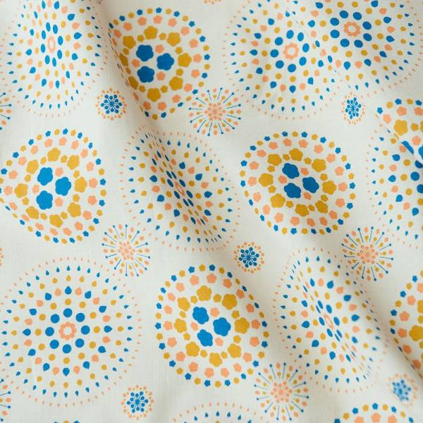 寬幅平織印花棉布/煙火/舊物陶色 布料, 棉布, 手作材料